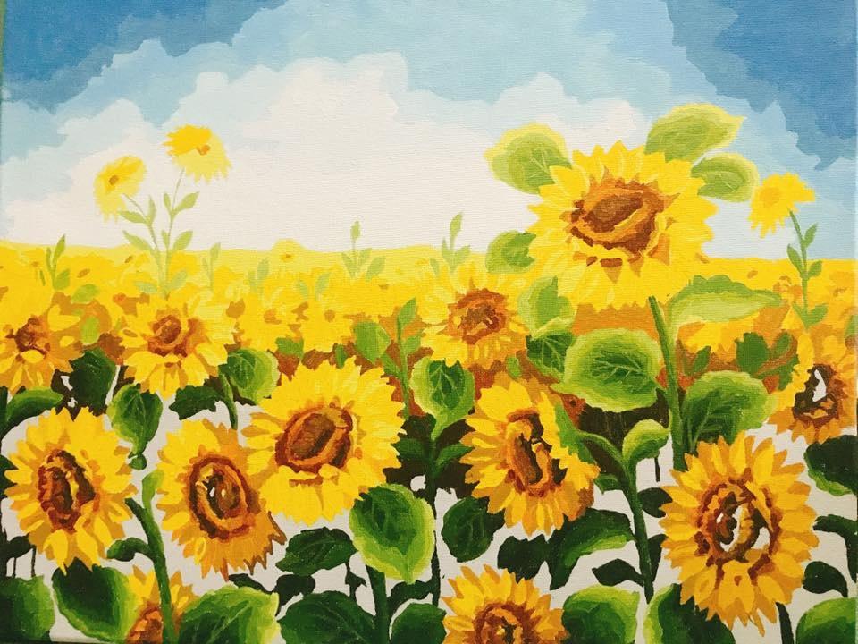 Ảnh những cánh đồng hoa hướng dương vẽ bằng màu nước đẹp