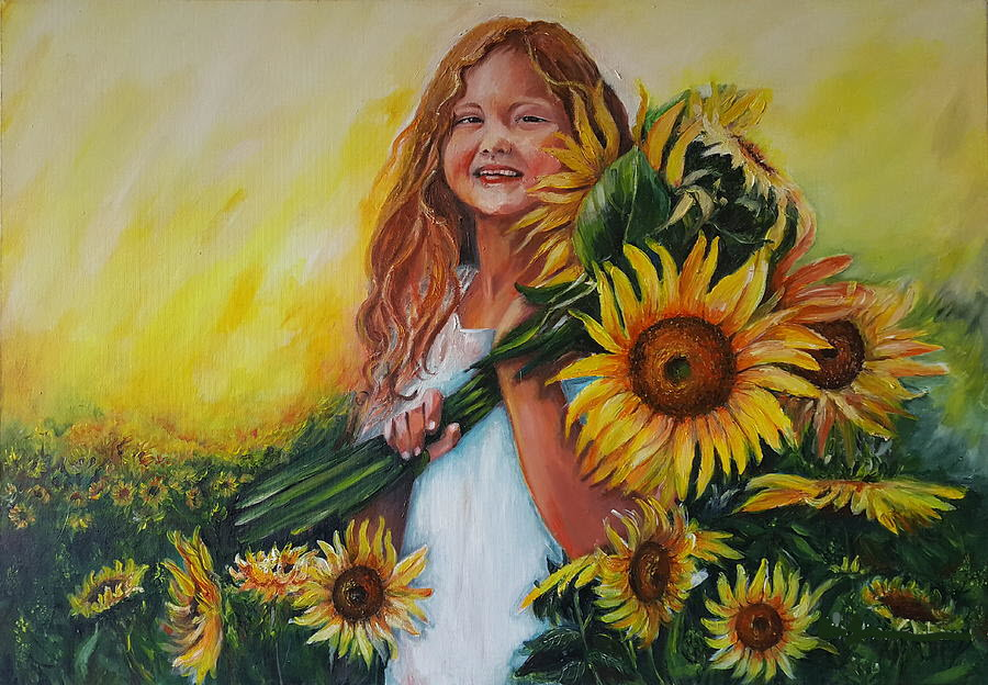 Bức tranh cô gái với hoa hướng dương