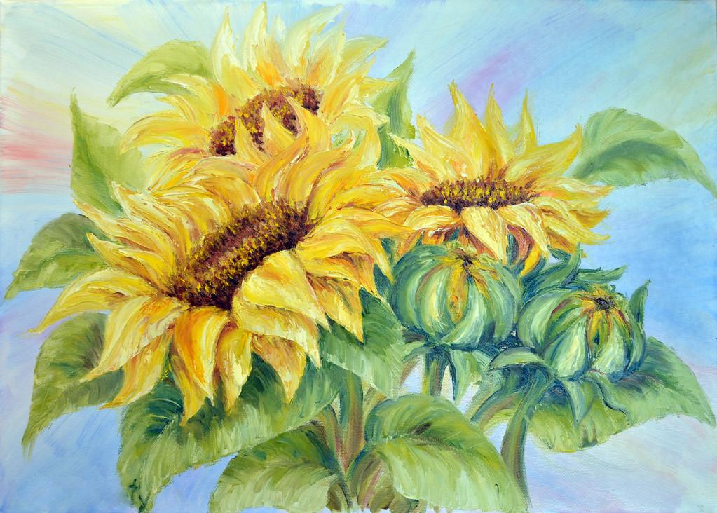 Bức tranh sơn dầu hoa hướng dươnh