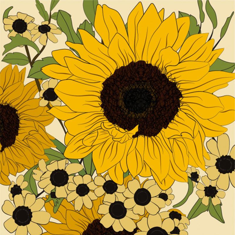 Bức tranh vẽ hoa hướng dương đẹp
