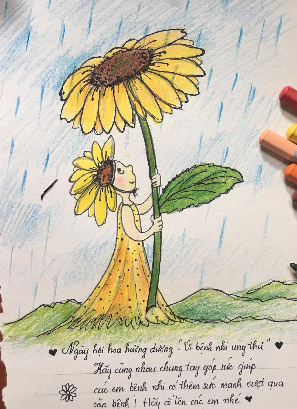 Bức vẽ chủ đề ngày hội hoa hướng dương kèm lời chúc ý nghĩa