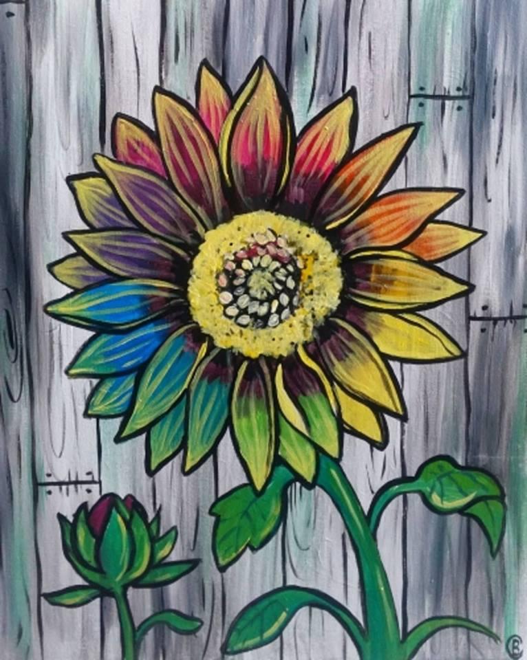 Bức vẽ hoa hướng dương mang màu sắc độc lạ