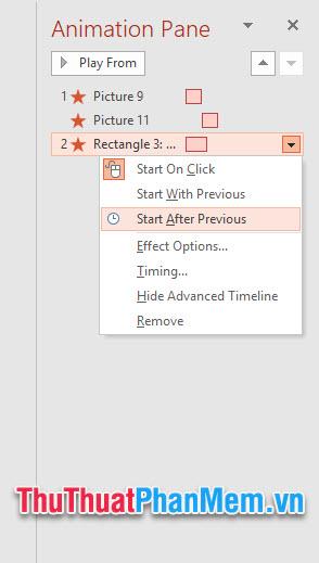 Click chuột vào từng cái để đổi sang Start After Previous để các chuyển động có thể thực hiện nối tiếp nhau