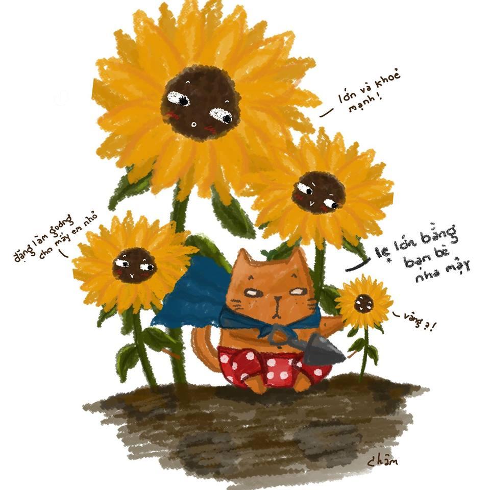 Những bức tranh hoa hướng dương cute lạc lối