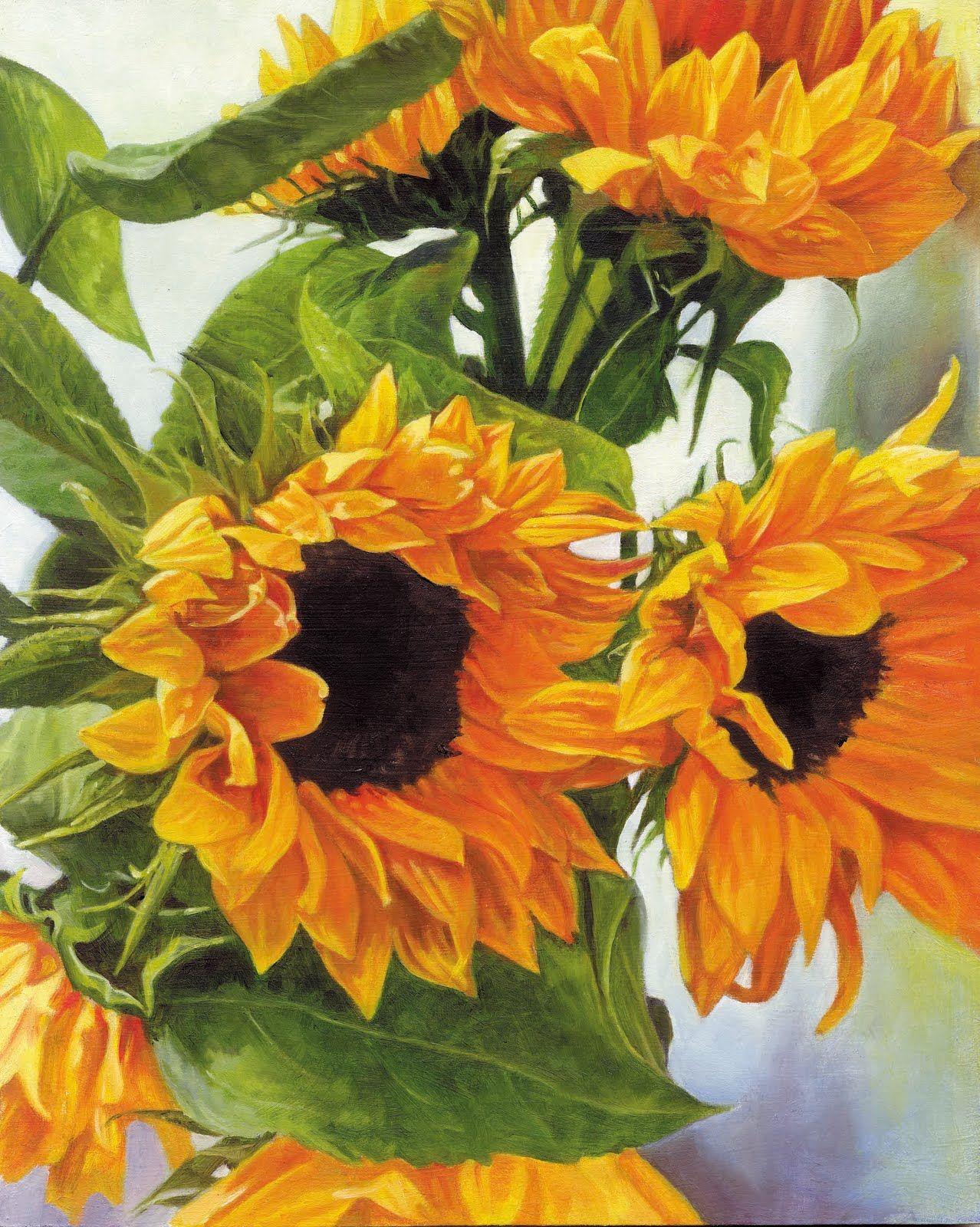 TRanh sơn dầu hoa hướng dương tuyệt đẹp