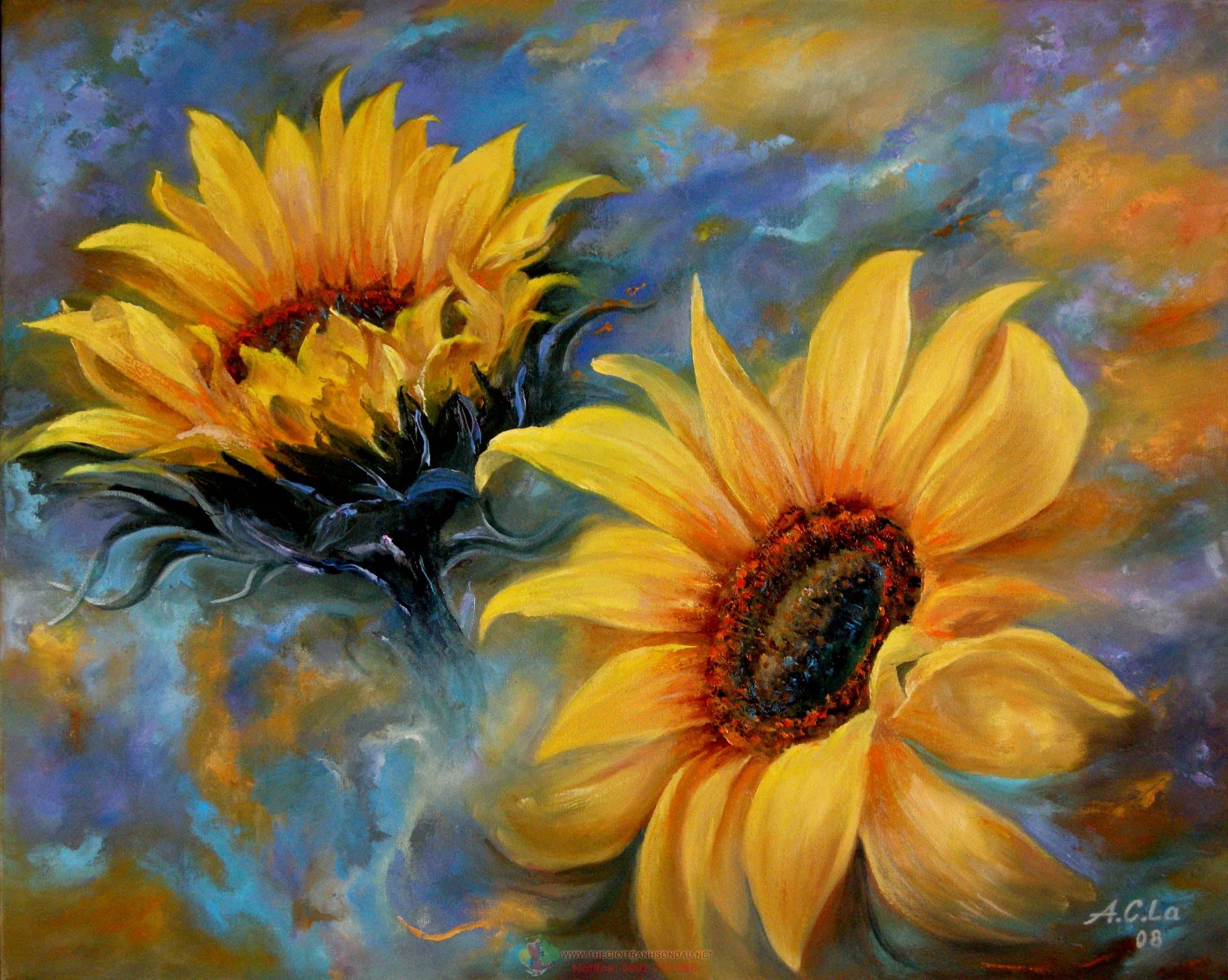 Tranh sơn đầu những bông hoa hướng dương đẹp nhất