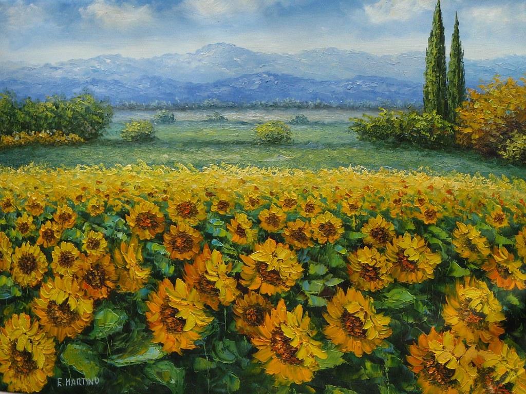 Tranh vẽ cánh đồng hoa hướng dương tuyệt đẹp