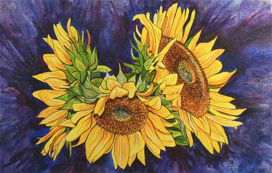 Tranh vẽ hoa hướng dương cực đẹp