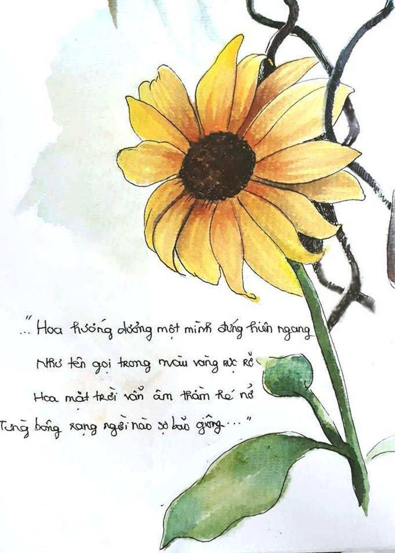 Tranh vẽ hoa hướng dương kèm lời chúc cute lạc lối