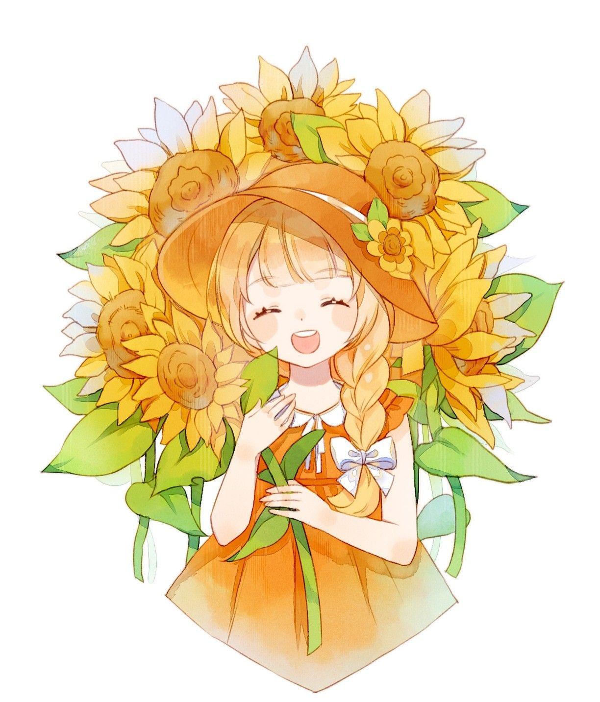 Tranh vẽ hoa hướng dương nhẹ nhàng phong cách anime
