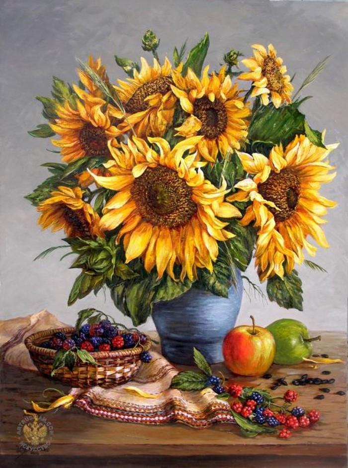 Tranh vẽ lọ hoa hướng dương chất liệu sơn dầu đẹp nhất