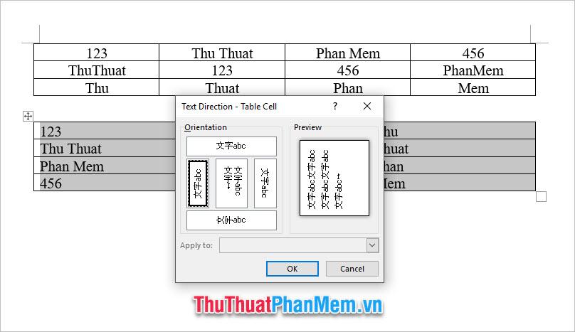 Bạn có thể chọn xoay dọc về phía bên trái và xoay dọc về phía bên phải để xoay chữ trong bảng một góc 90 độ