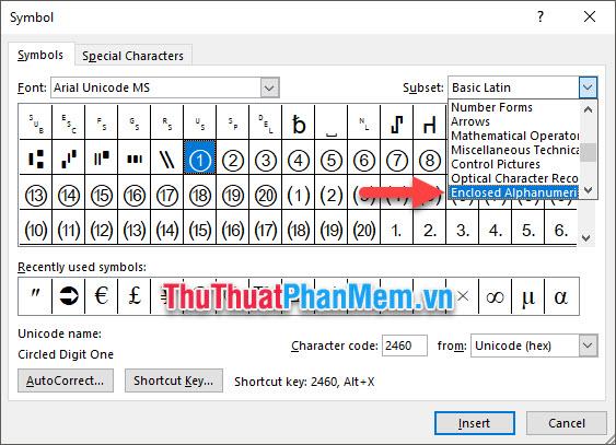 Chuyển mục Subnet thành Enclosed Alphanumerics
