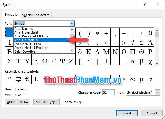 Chuyển sang font Arial Unicode MS trong mục Font