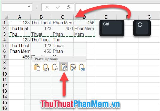 Click chuột phải và chọn biểu tượng Transpose trong Paste Options