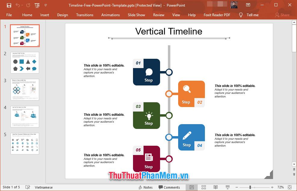 Slide giới thiệu dòng thời gian công tác của bản thân