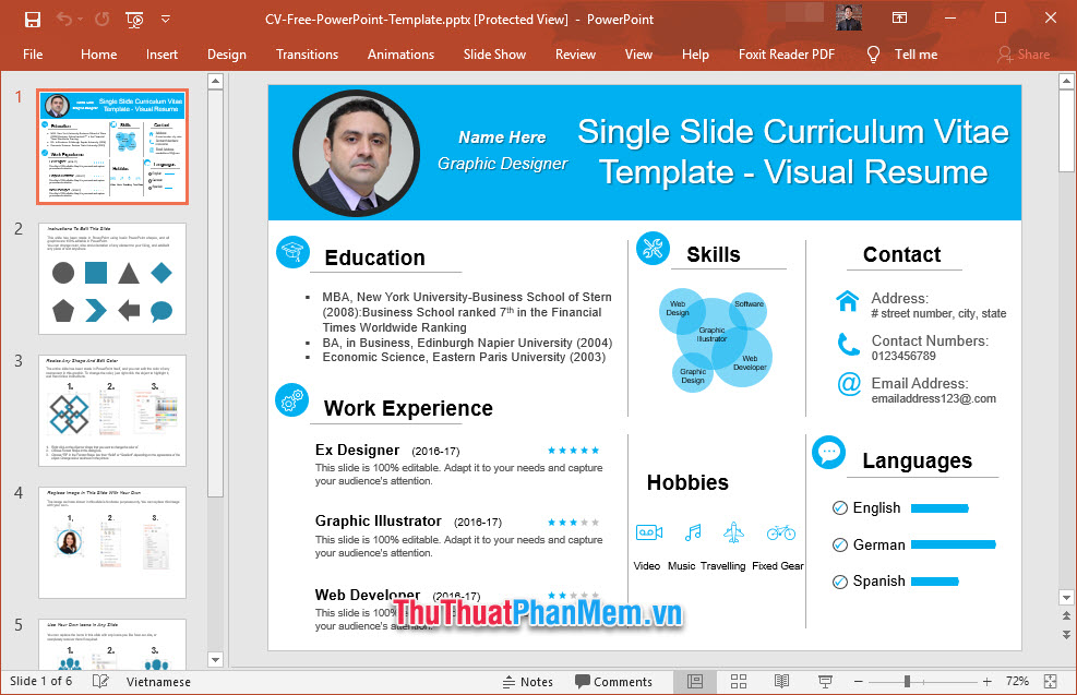 Slide giới thiệu nhiều mục về bản thân