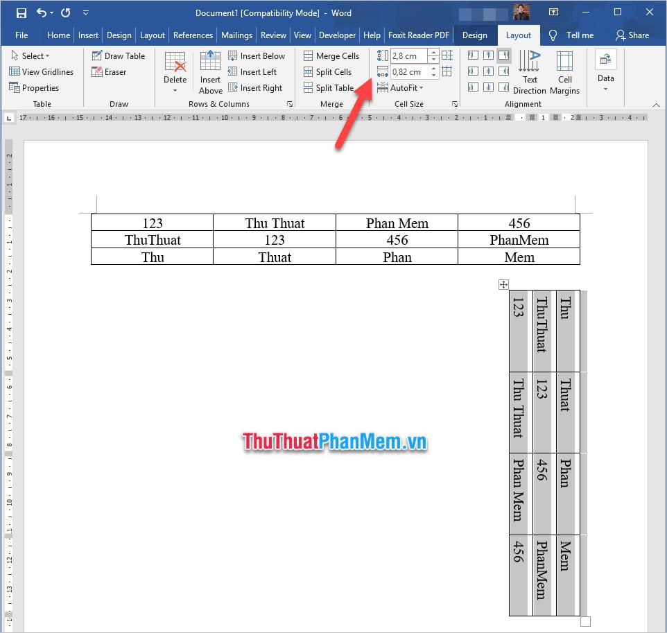 Tại mục Cell Size, các bạn có thể chỉnh độ cao độ rộng chính xác của bảng