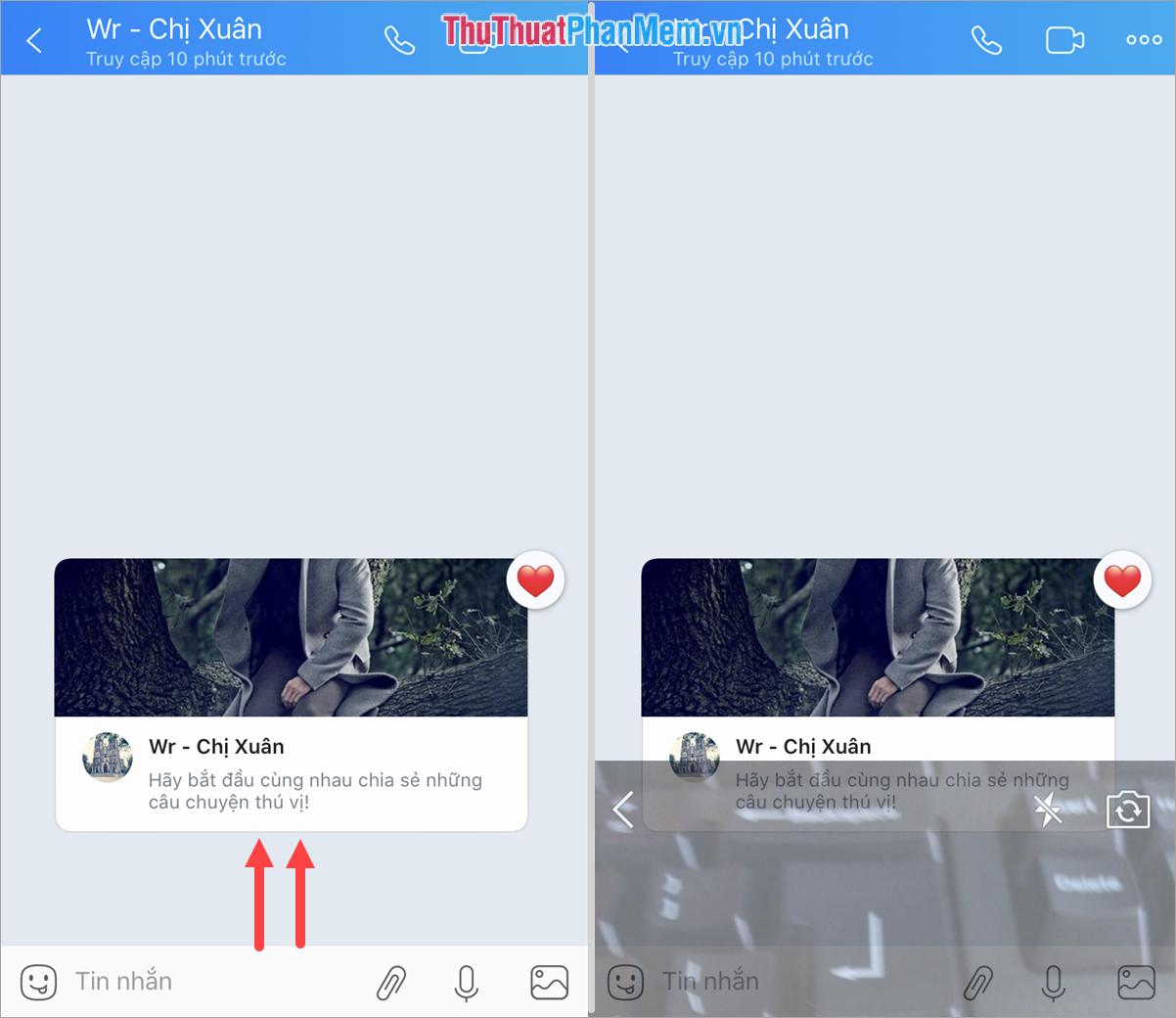 Vuốt ngược từ dưới lên để mở Tin nhắn bí mật bằng hình ảnh