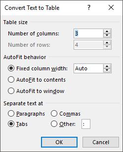 Xem lại thông số trong Convert Text to Table rồi nhấn OK để lưu các cài đặt