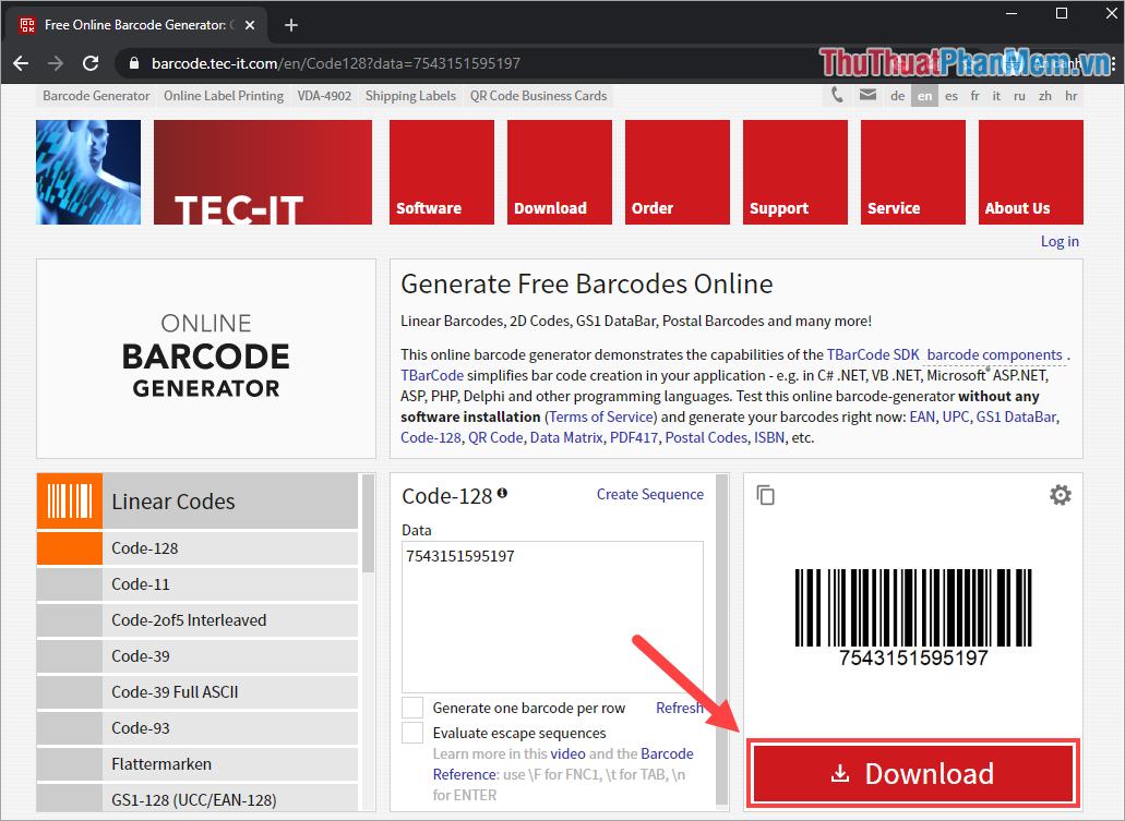 Chọn Dowload để tải đoạn mã Barcode về máy và sử dụng