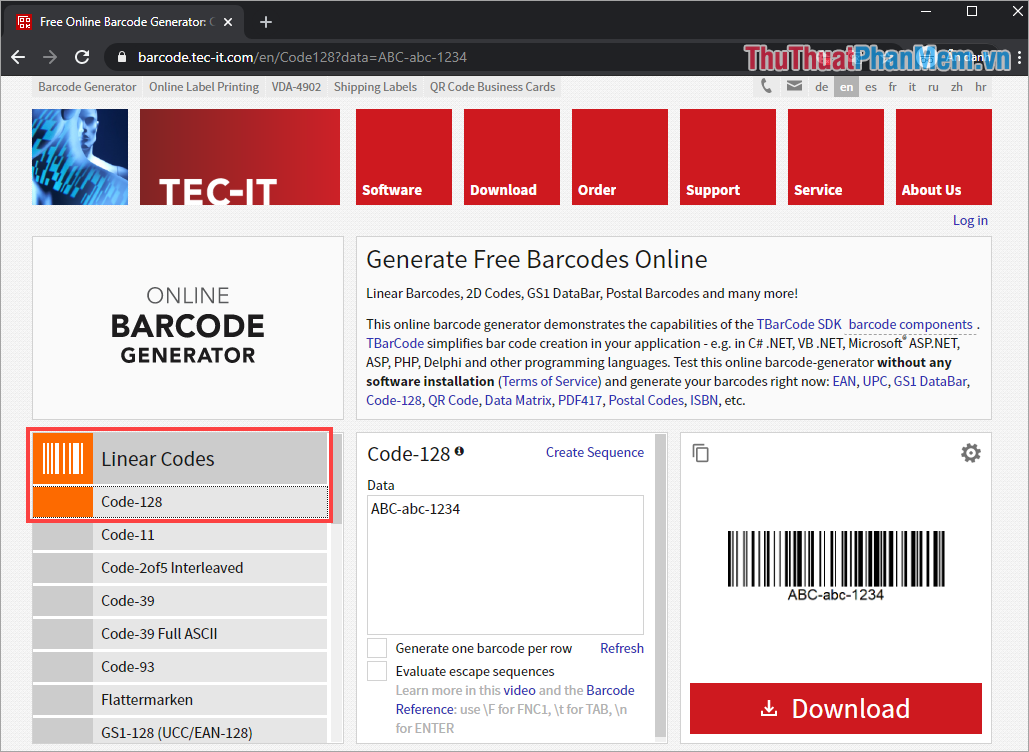 Chọn mục Linear Codes (mã vạch)