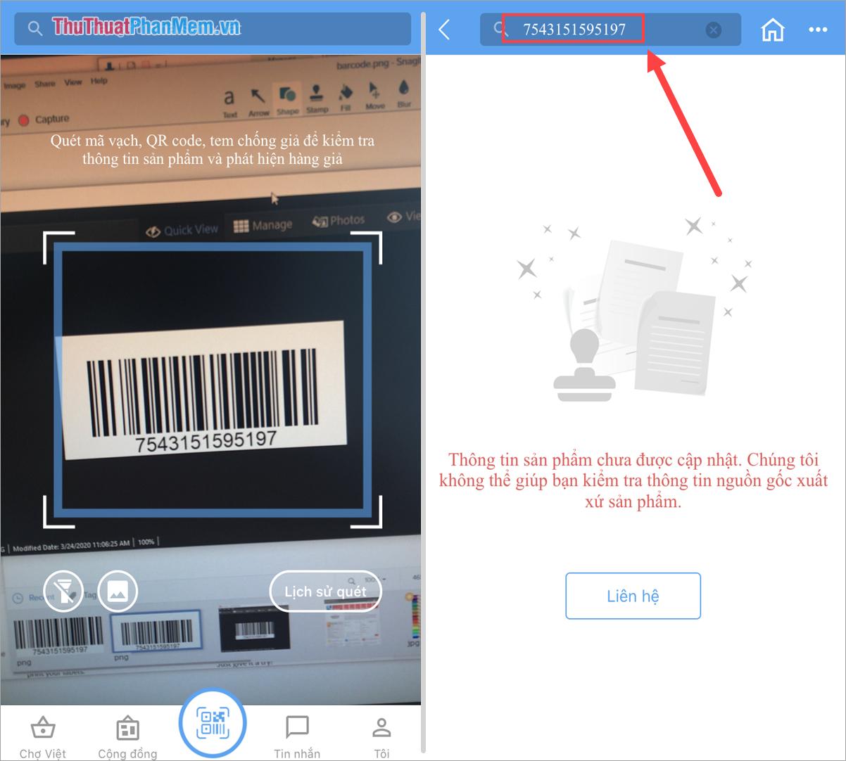 Kiểm tra Barcode bằng điện thoại