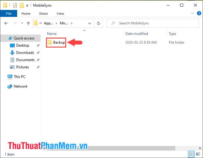 Thư mục Backup chính là thư mục chứa các file Backup trên iPhone
