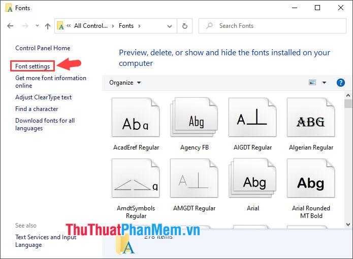 Chọn Font settings