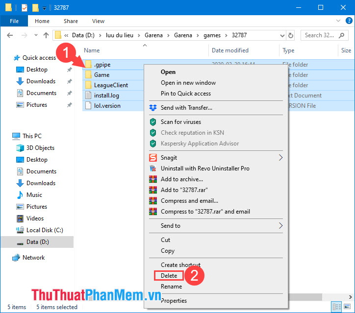 Nhấn tổ hợp phím Ctrl + A để bôi đen toàn bộ thư mục và chọn Delete