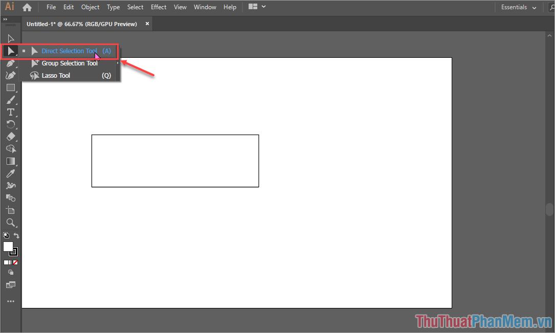 Chọn công cụ Direct Selection Tool