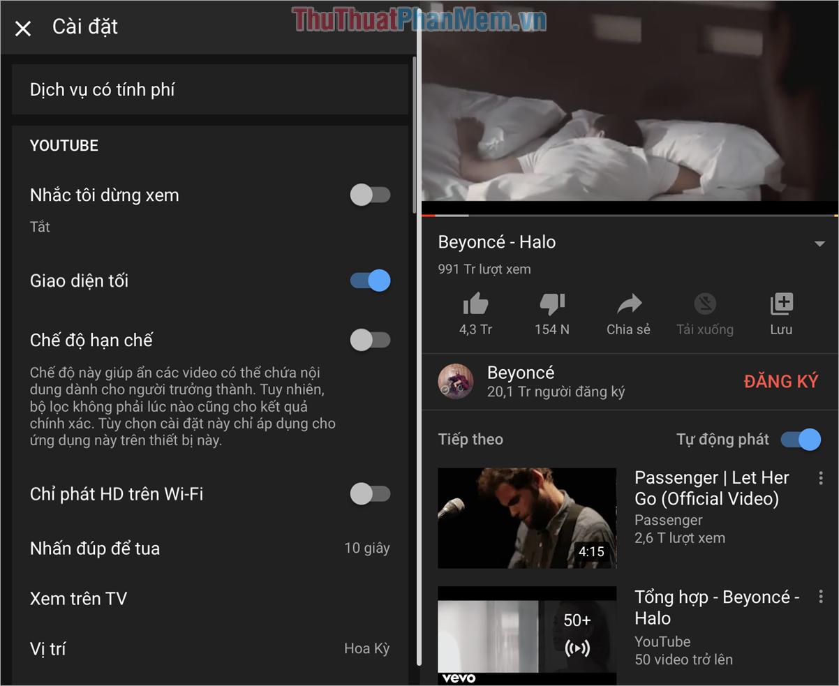 Toàn bộ giao diện Youtube trên điện thoại của các bạn sẽ được chuyển sang chế độ tối Dark Mode