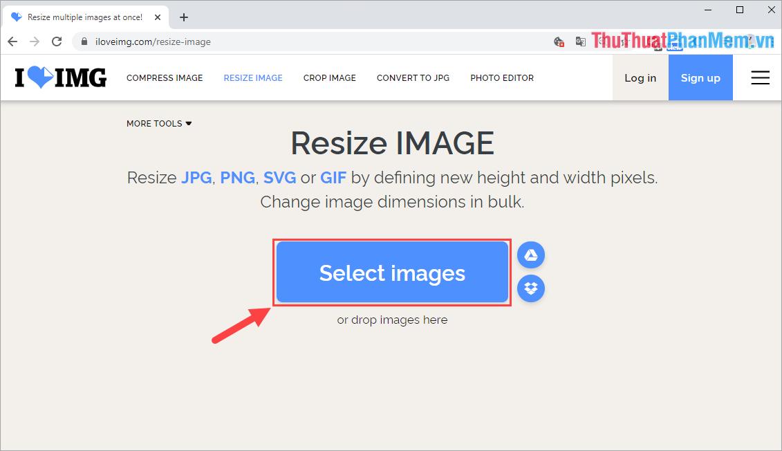 Chọn Select Images để tải hình ảnh cần Resize từ máy tính lên