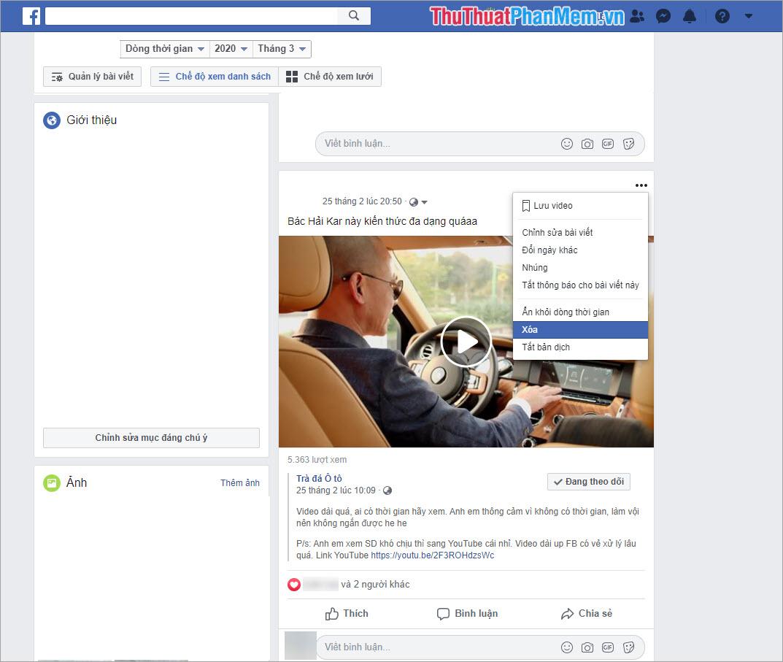 Xóa bài viết bất kỳ trên Facebook để bắt đầu khôi phục