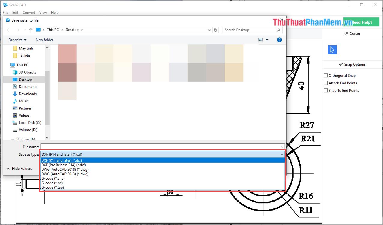 Bạn có thể chọn được nhiều định dạng file Cad tại mục Save as type