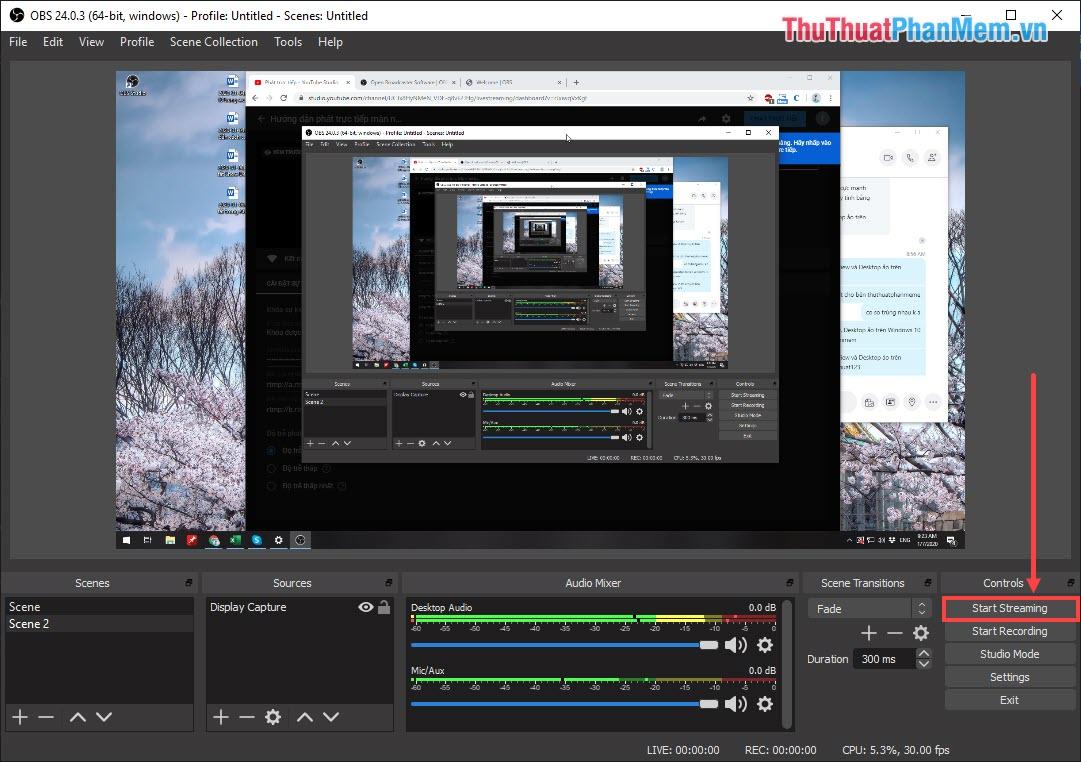 Chọn Start Streaming để bắt đầu truyền nội dung tới nền tảng Youtube