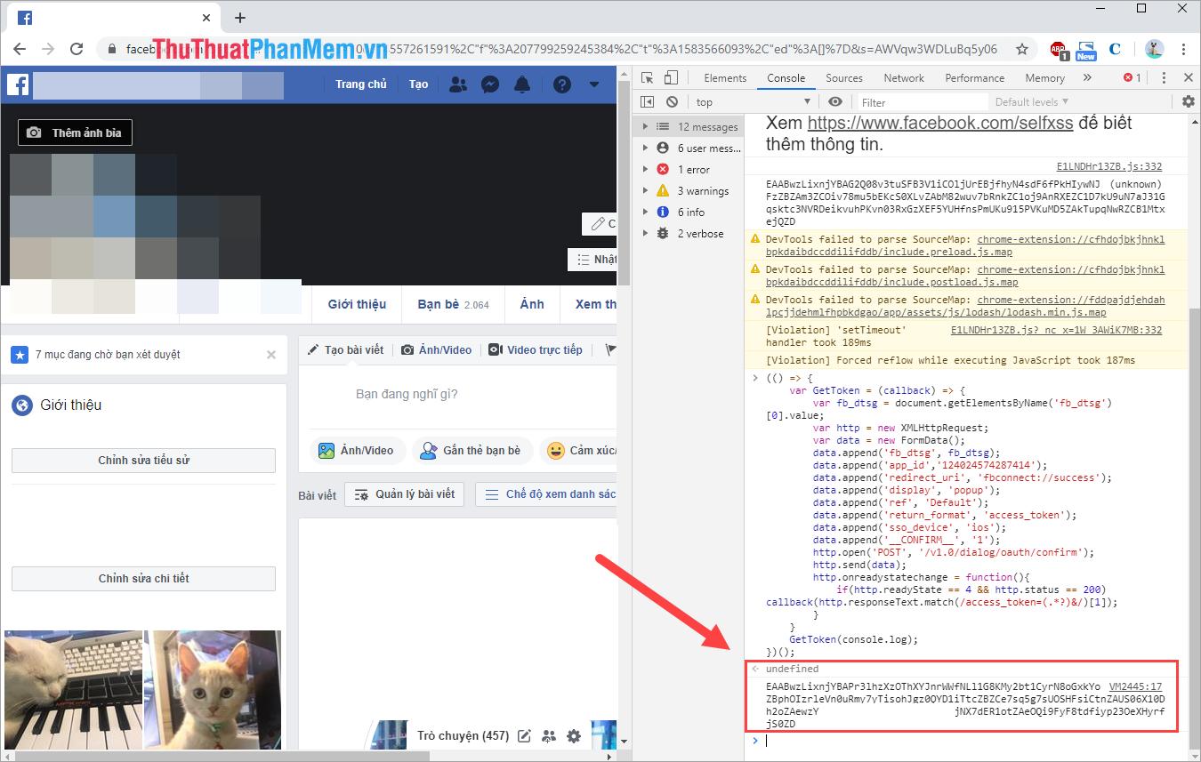 Token Facebook của các bạn sẽ xuất hiện tại cửa sổ Console