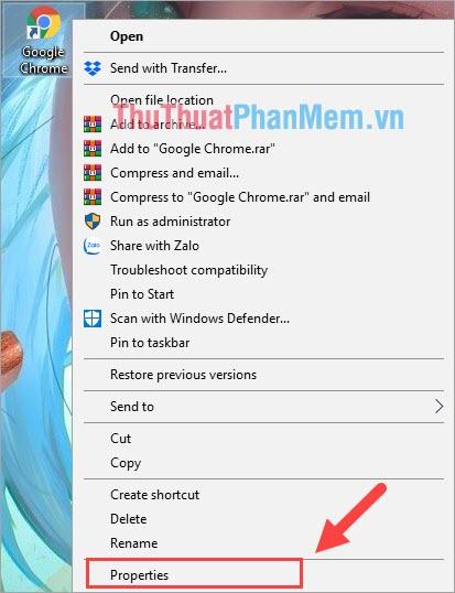 Click chuột phải vào ứng dụng muốn cài khi mở ứng dụng tắt máy và chọn Properties
