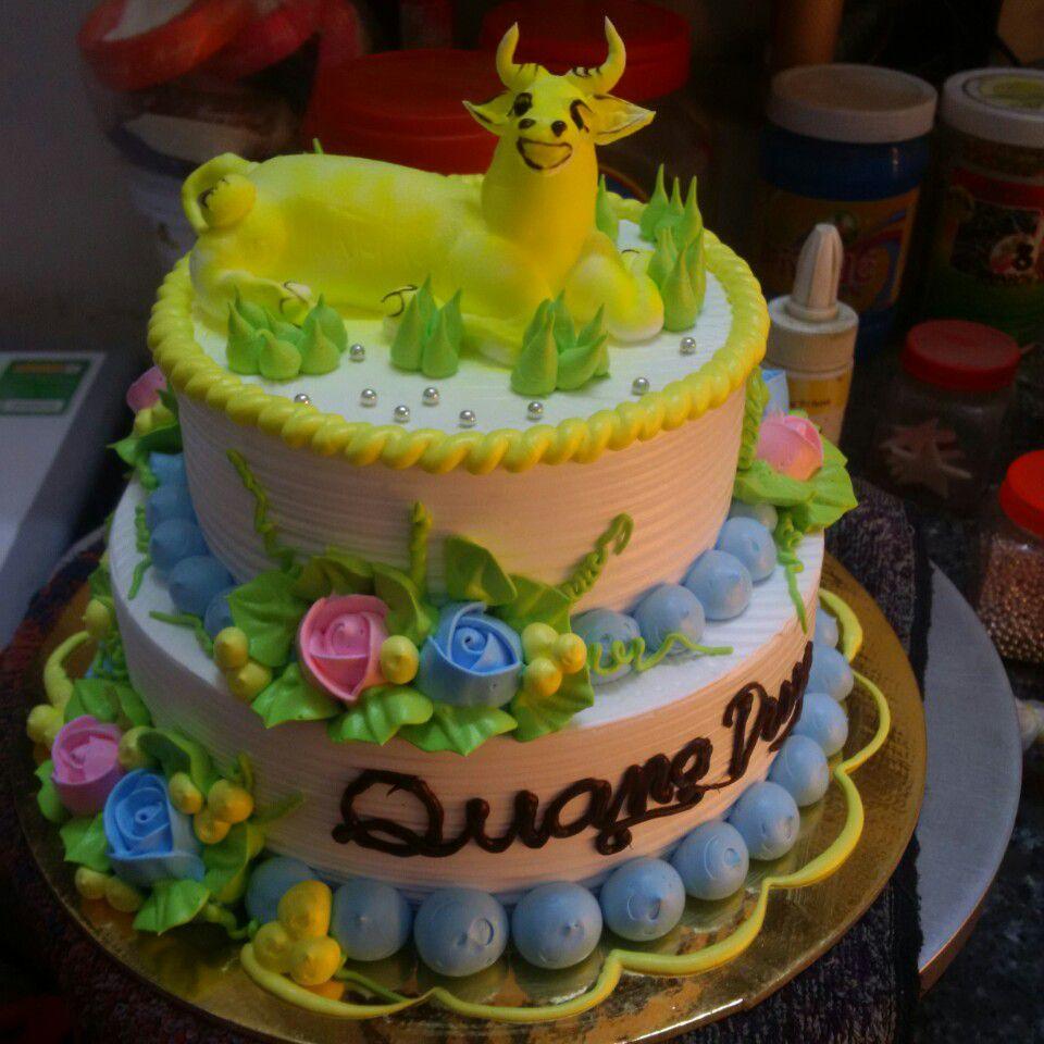 Bánh sinh nhật hình con trâu ngộ nghĩnh