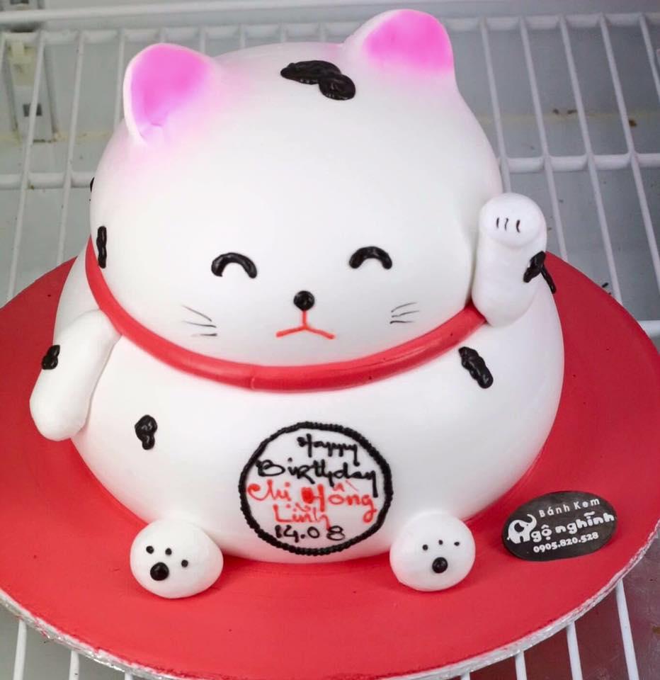 Bánh sinh nhật ngộ nghĩnh hình chú mèo