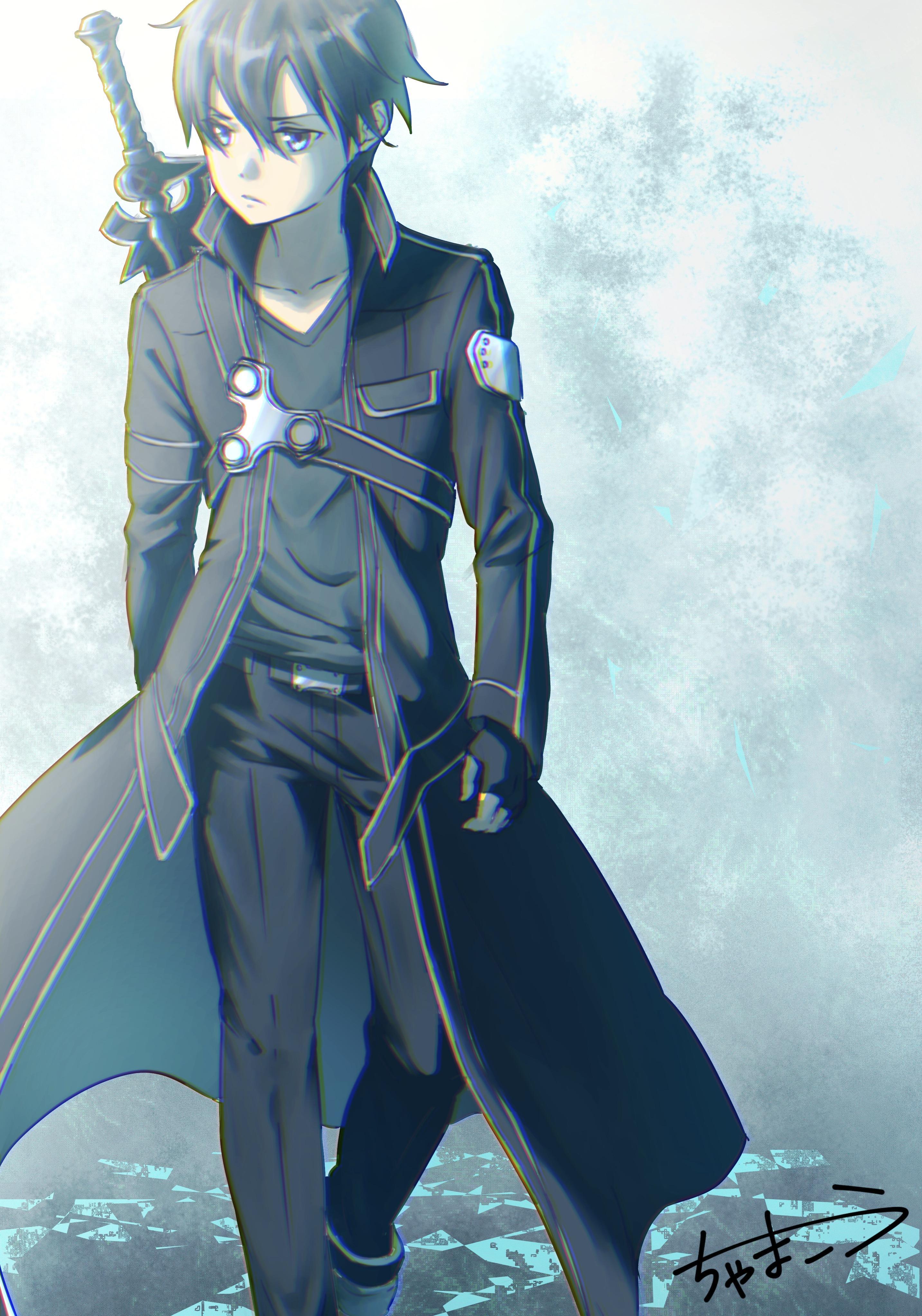 Hình Kirito áo choàng dài đeo kiếm sau lưng trông rất lãng tử