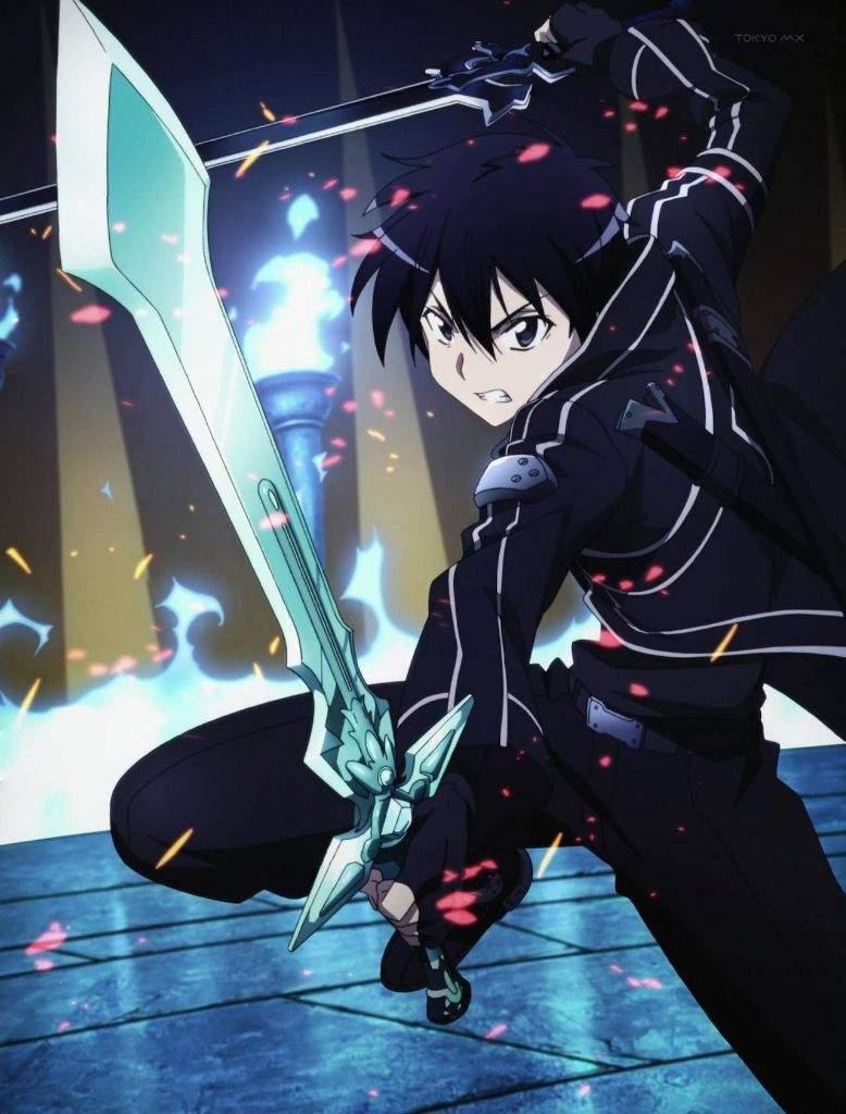 Hình Kirito chiến đầu cùng song kiếm