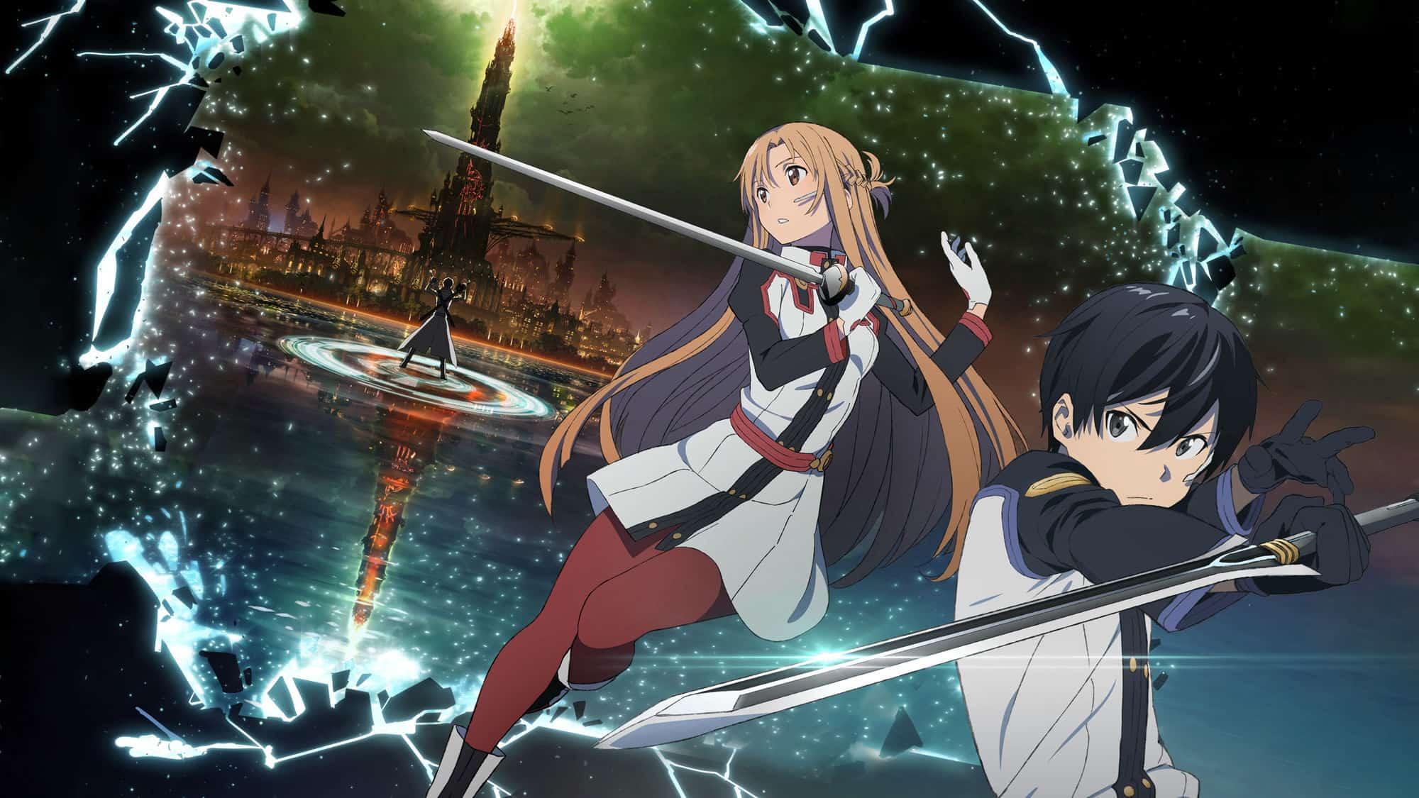 Hình Kirito cùng Asuna chiến đấu bên nhau