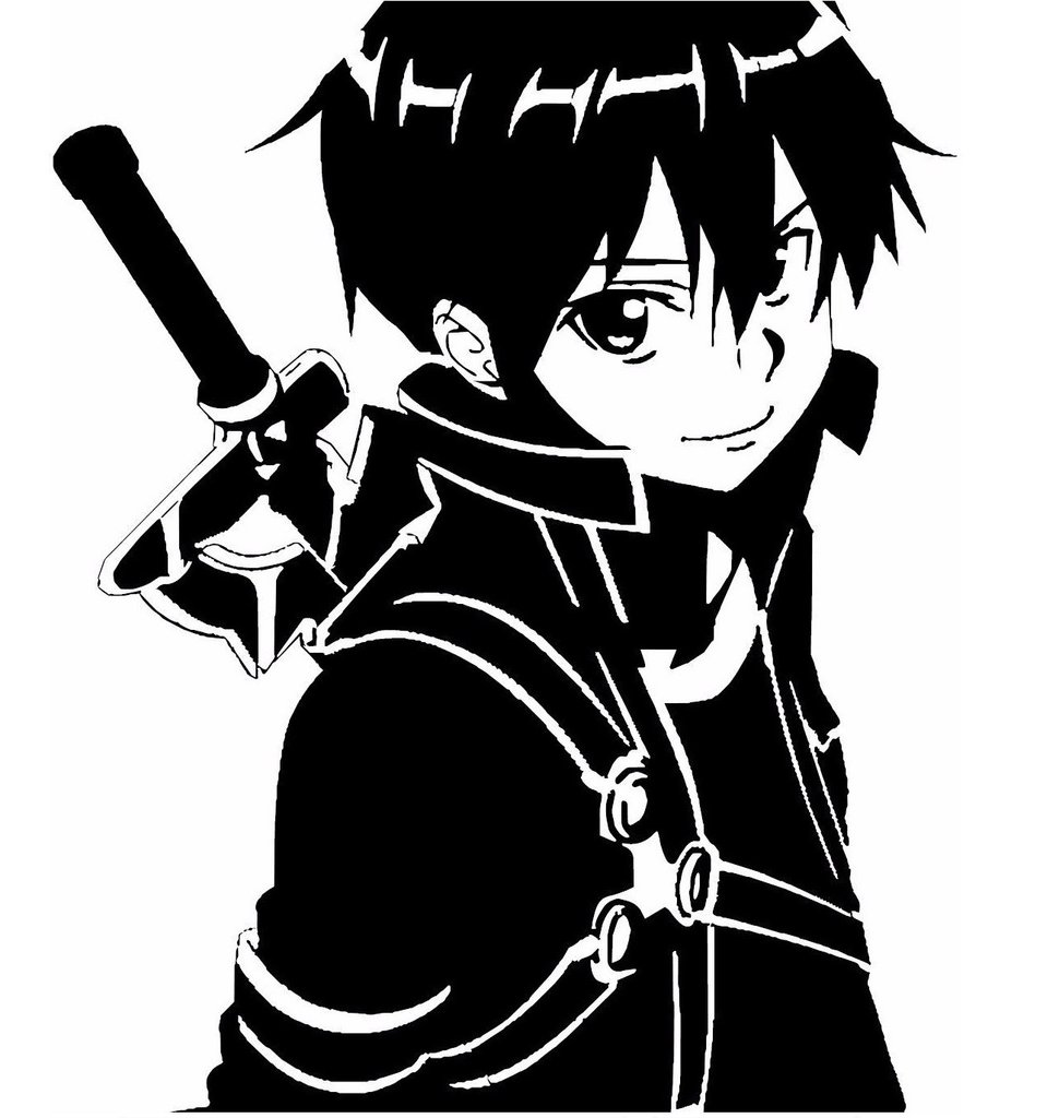 Hình Kirito đen trắng đẹp