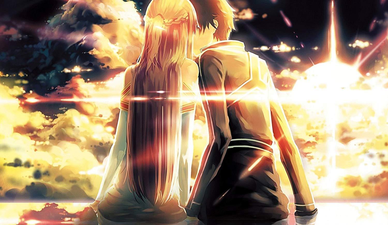 Hình Kirito nụ hôn dưới hoàng hôn cùng Asuna