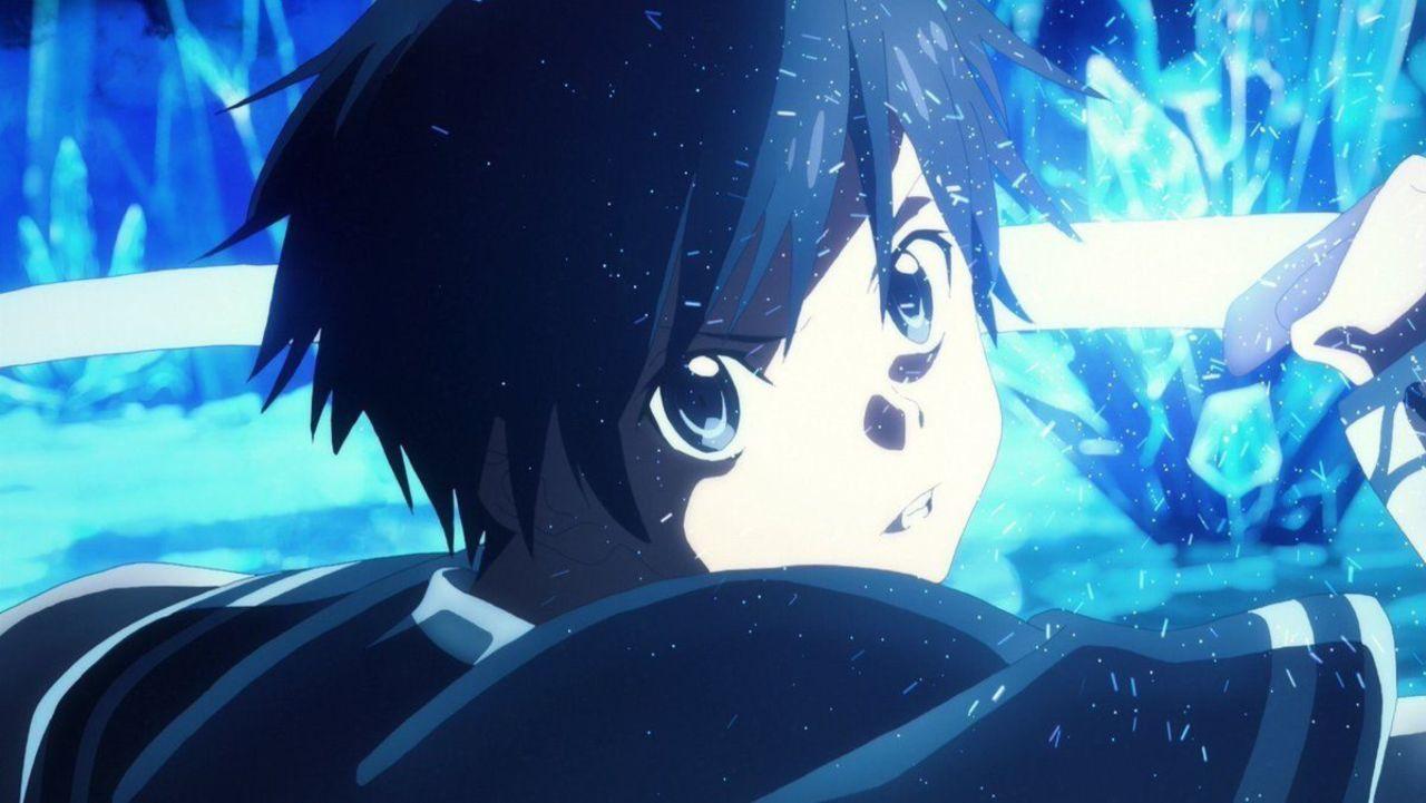 Hình Kirito tông xanh đôi mắt kiên định