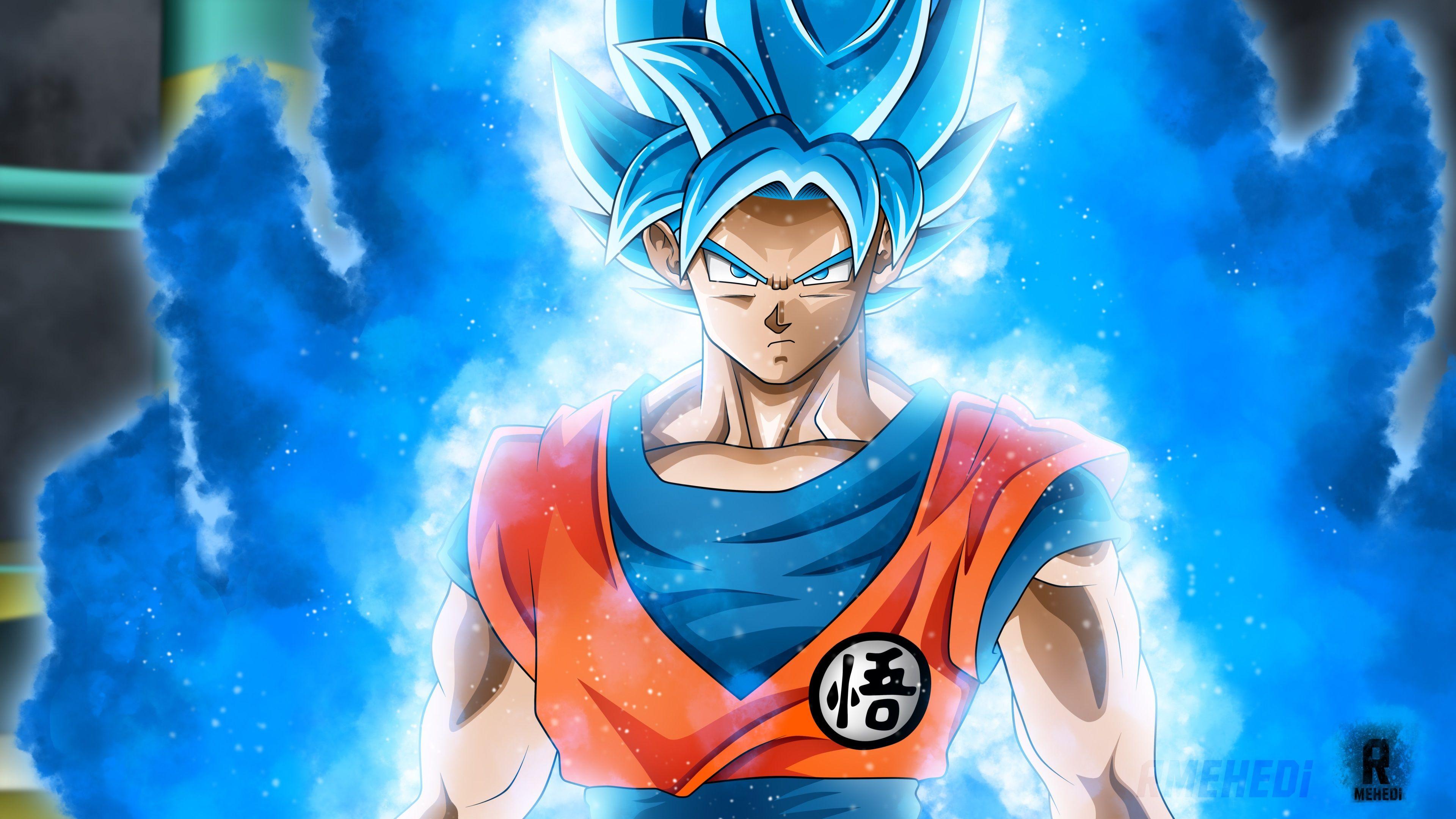 Hình nền Dragon Ball rất đẹp Songoku tóc xanh