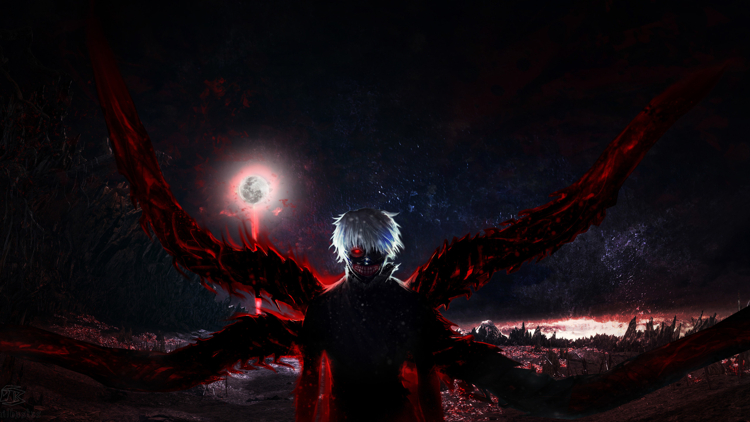 Hình nền Tokyo Ghoul 2k mặt trăng đỏ