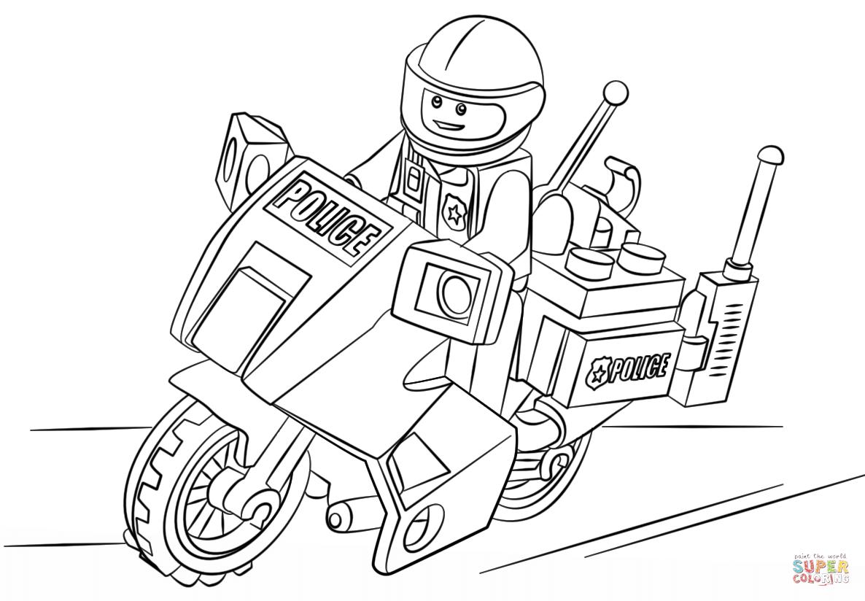 Hình tranh tô màu chú công an ngồi xe máy